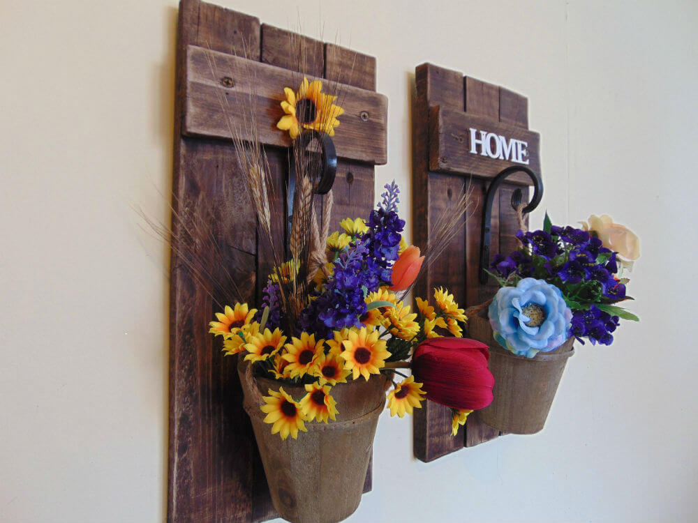 Rustic Wall Sconce for Flowers or Lanterns