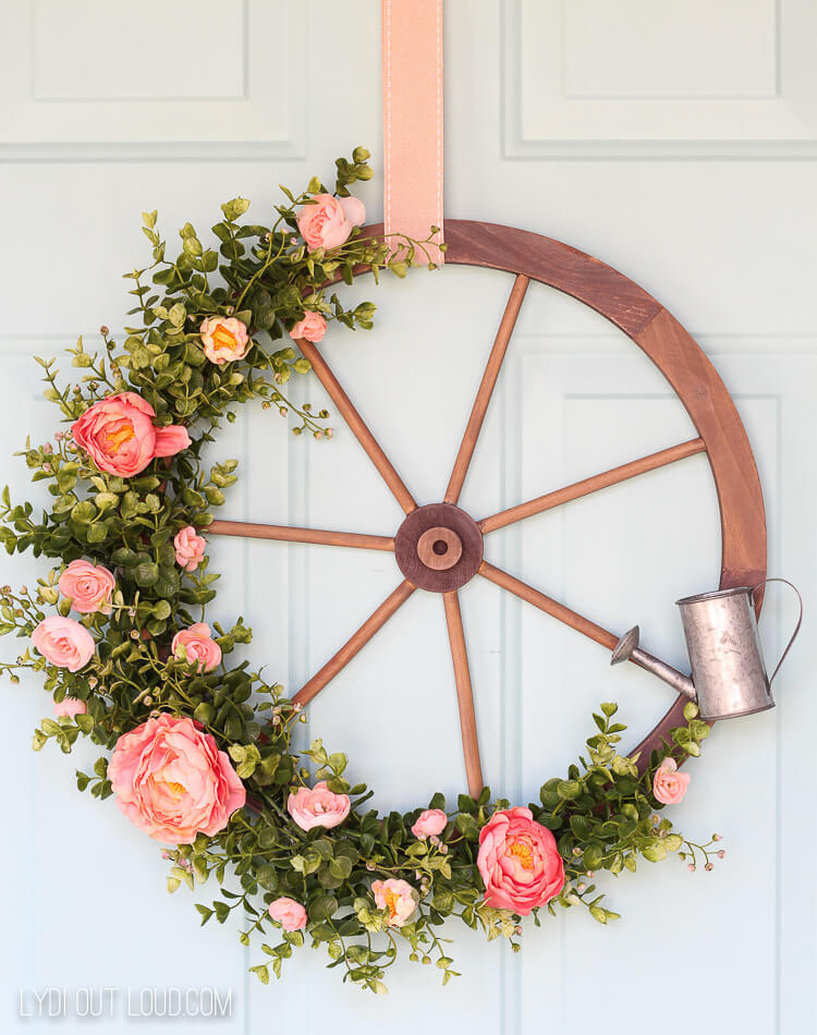 Blossoming Outdoor Wagon Wheel Wreath