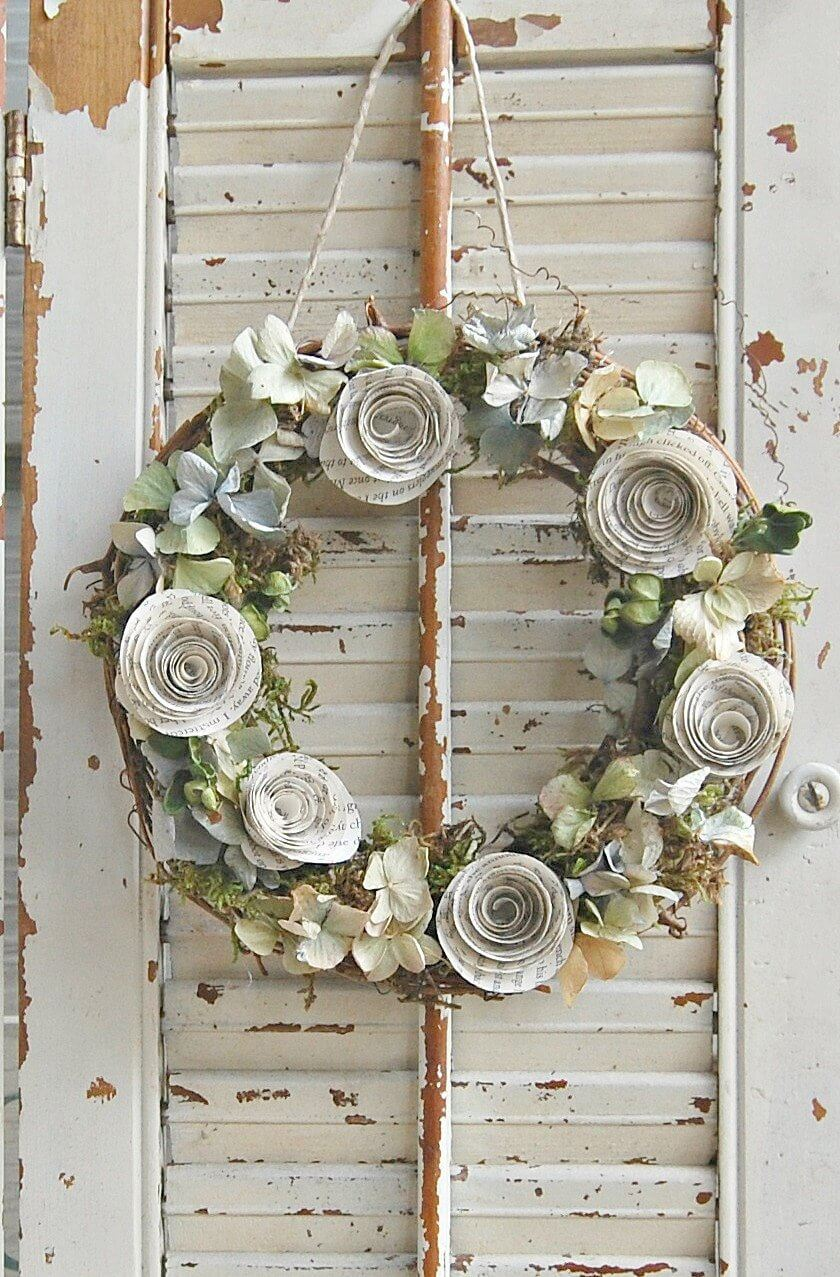 Dried Flower and Paper Rose Wreath