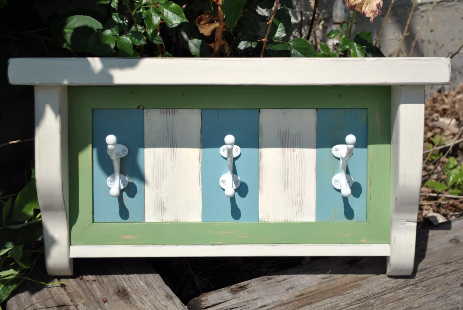 Coastal Farmhouse Shelf with Hooks