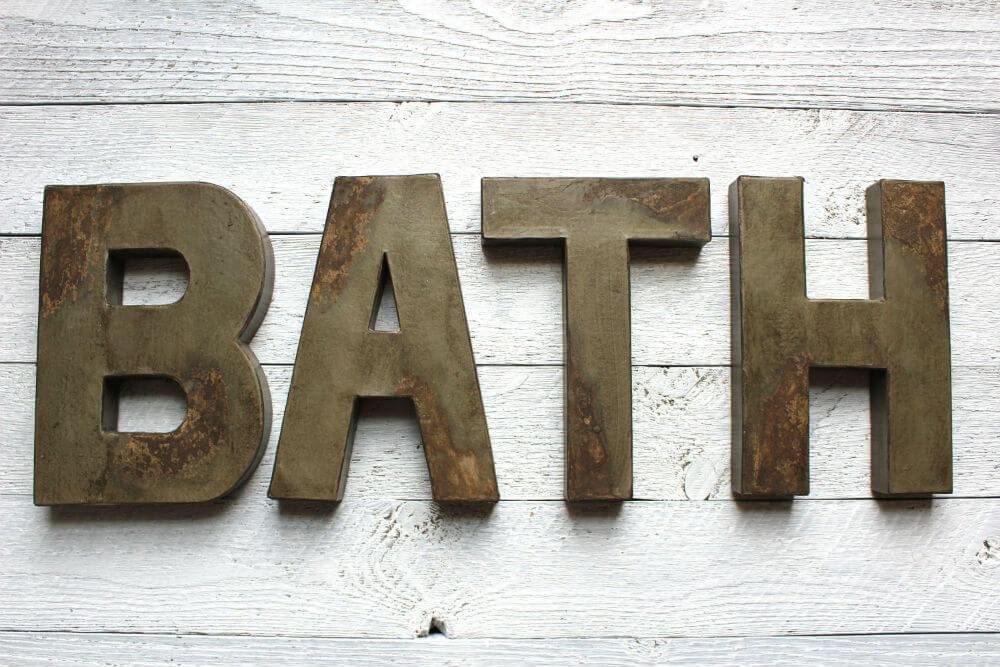 Rustic Navy Bathroom Sign