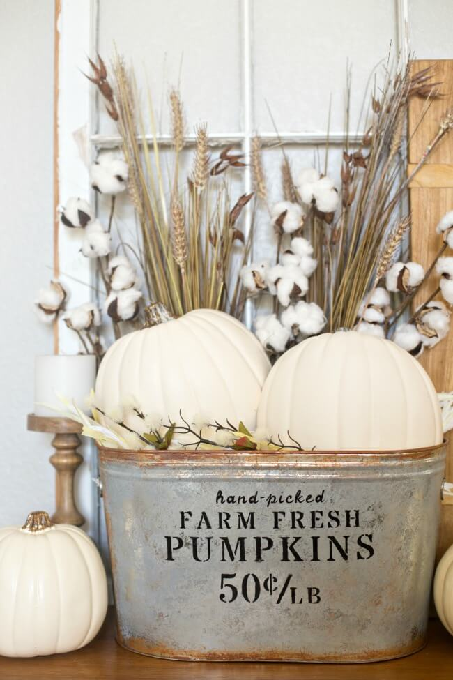 Harvest Bouquets in a Rustic Pail