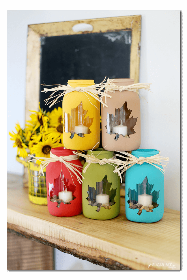 Painted Leaf Candle Holder