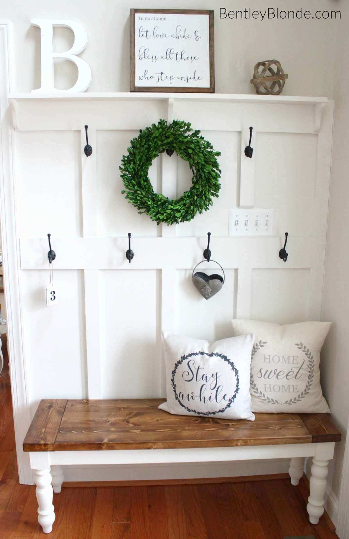 Greet Guests with a Rustic Farmhouse Bench