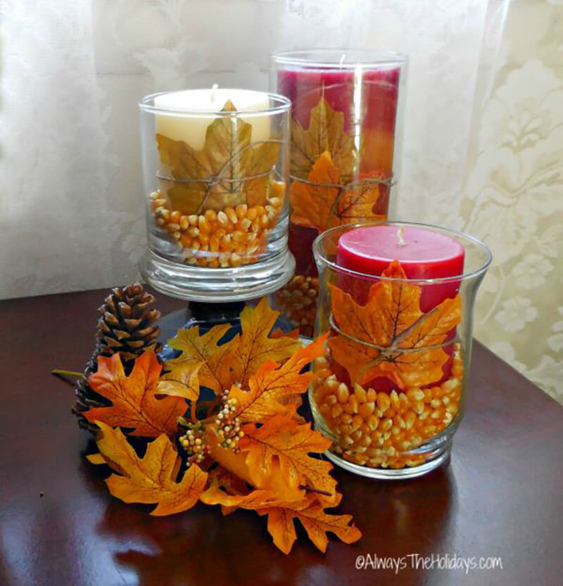 Fall Themed Hurricane Candle Holders