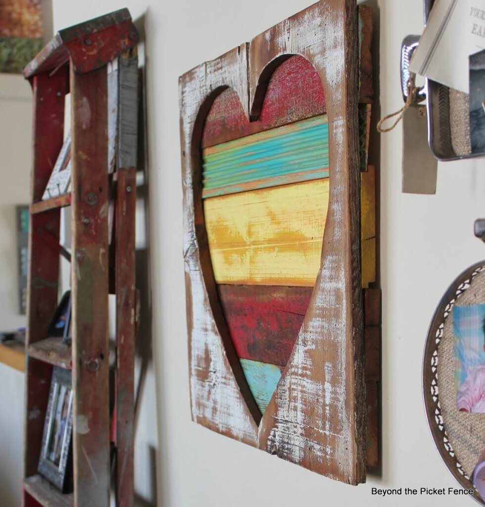 Colorful Rustic Heart Hanging with Rough Wood
