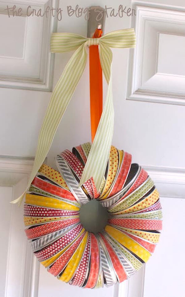 Canning Lids Transform into a Colorful Wreath