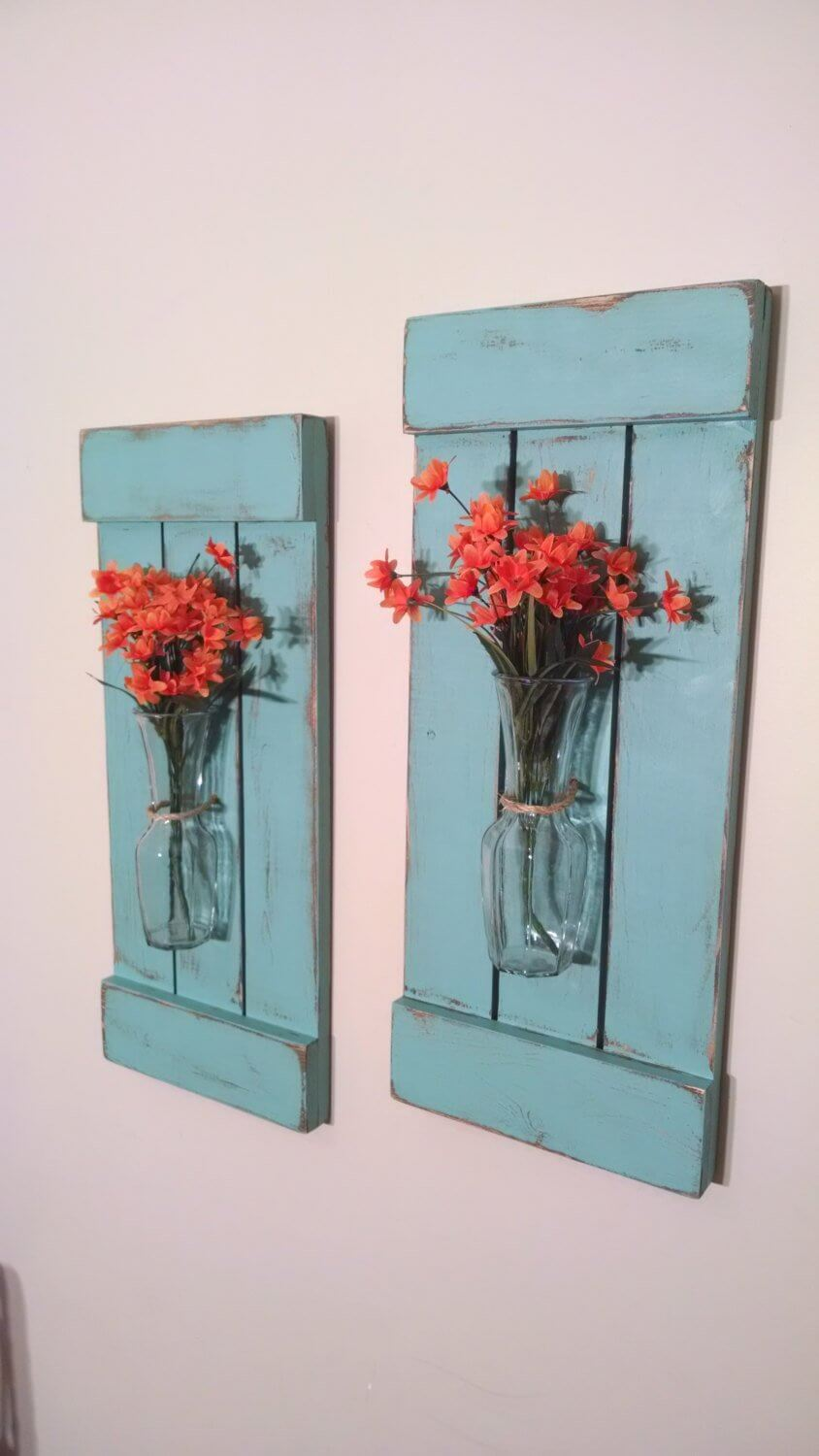 Retro Flower Vase Wall Hanging with Shutters