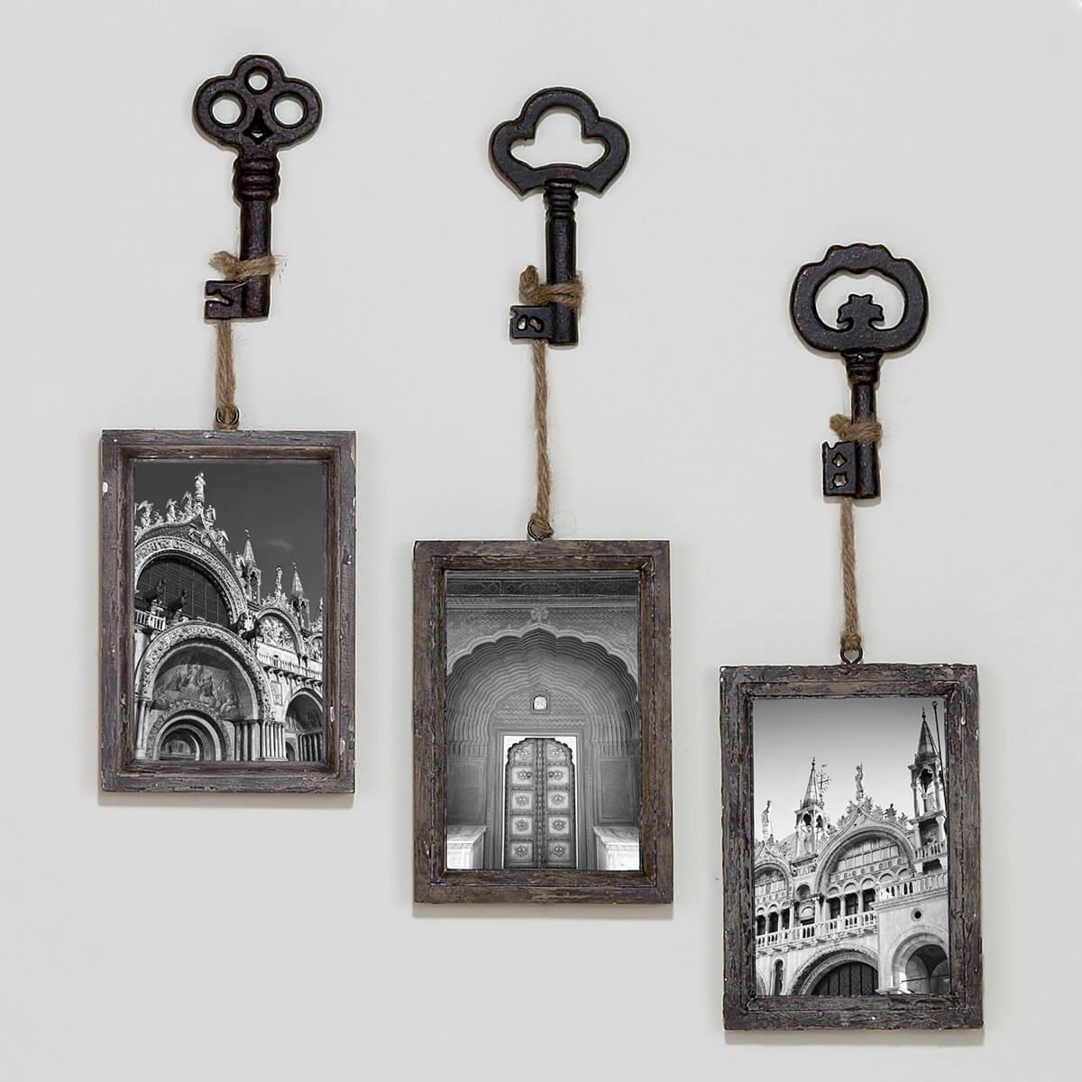 Retro Skeleton Key Picture Frame Set