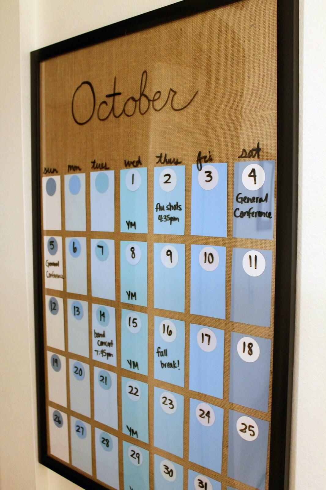 Customizable Paint Chip and Glass Calendar
