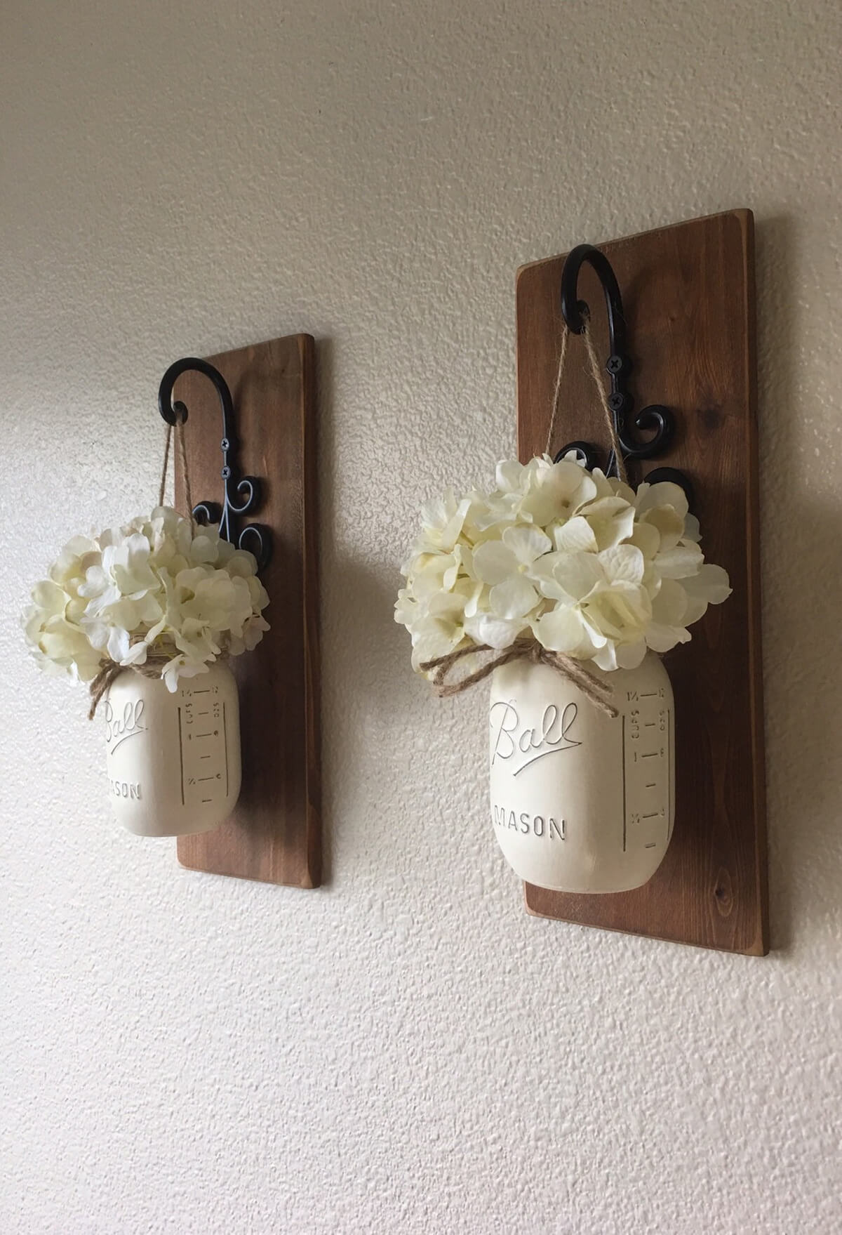 Wooden Wall Hangings with Iron Hooks and Ball Jars