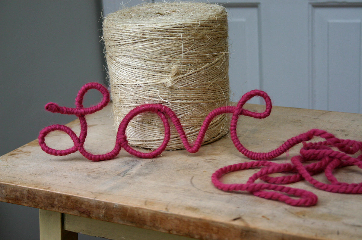 Soft and Sweet Yarn-Wrapped Word Art