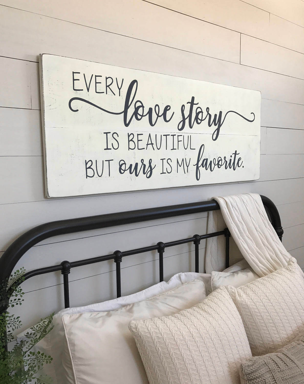 Distressed Hand Painted Love Story Sign