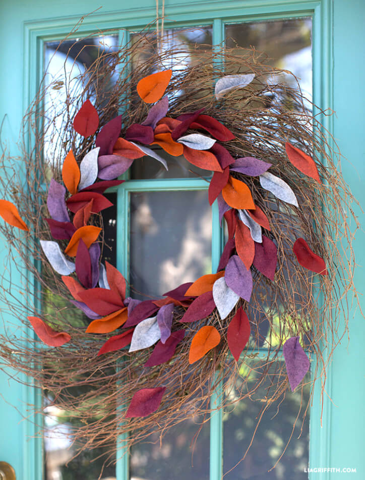 Twig Wreath and Blowing Felt Leaves