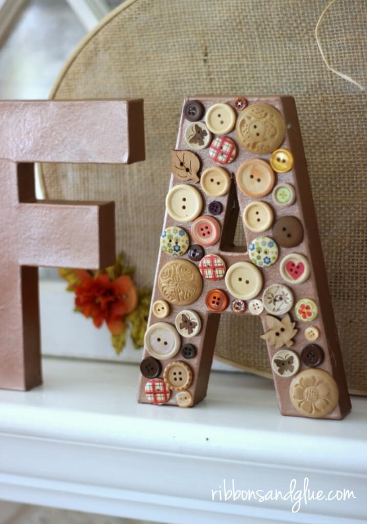 Shabby Chic Buttons on Mantelpiece Letters