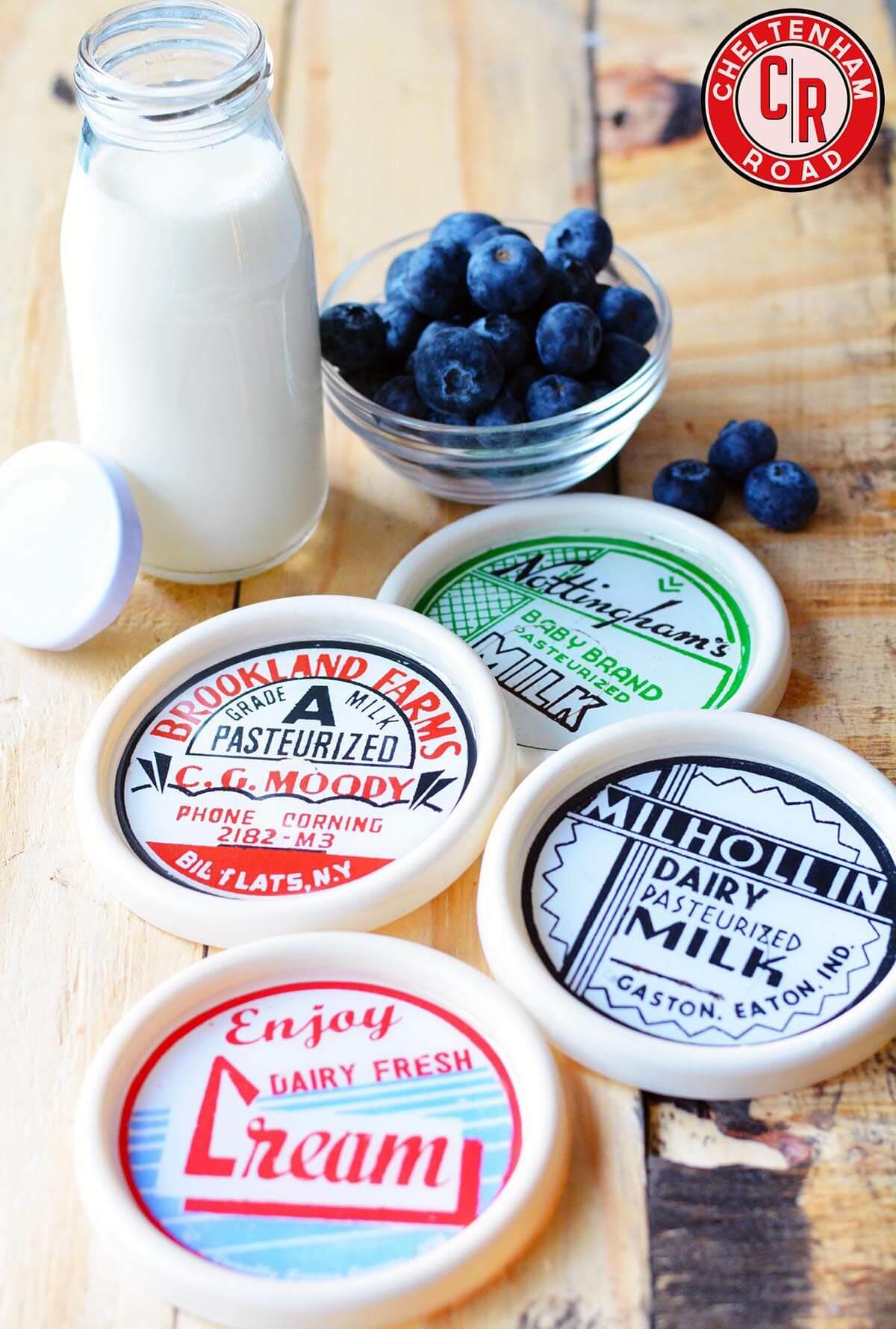 Retro Dairy Label Coaster Set