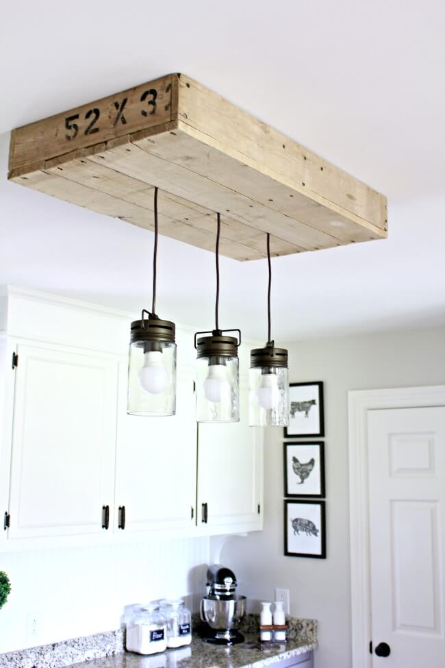 Industrial Themed Hanging Mason Jar Lamps