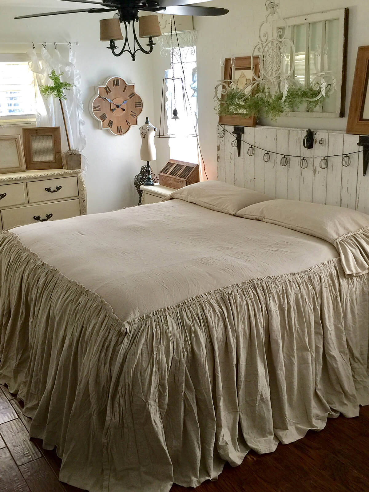Rustic Wood and Ruffled Bedspreads