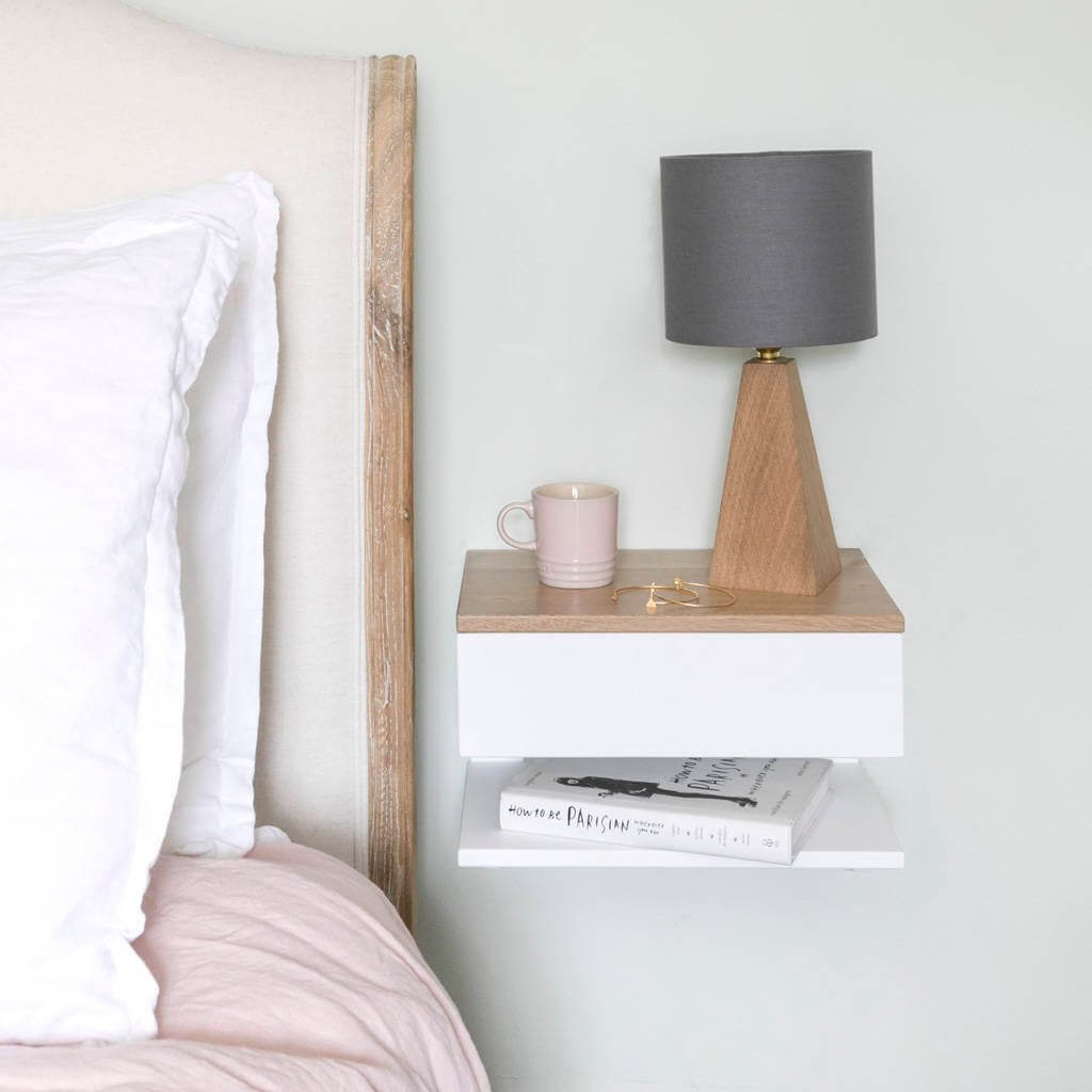 A Neutral Bedroom Nightstand with a Twist