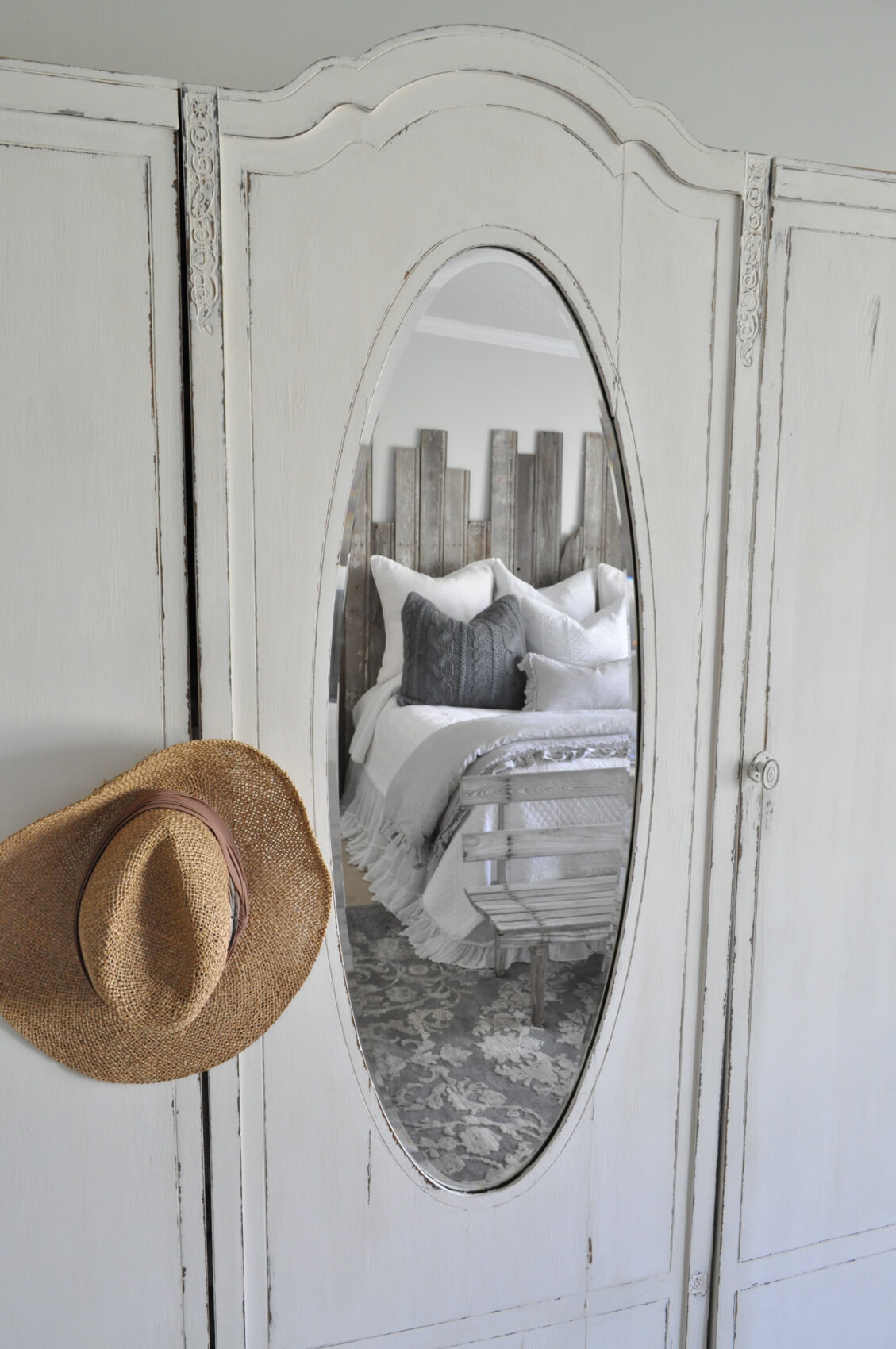 Mirror Reflecting a Rustic Chic Retreat<