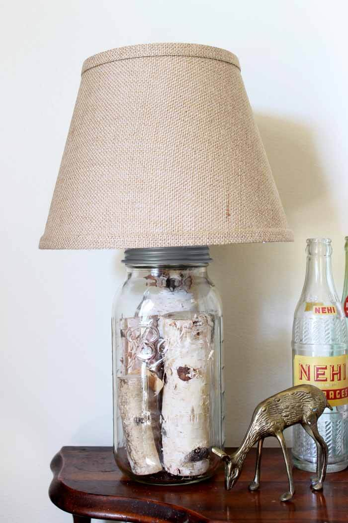 Awesome Mason Jar Log Lamp