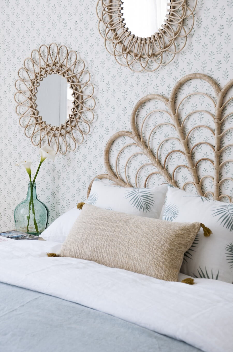 Rattan Stands Out Against Vintage Wallpaper