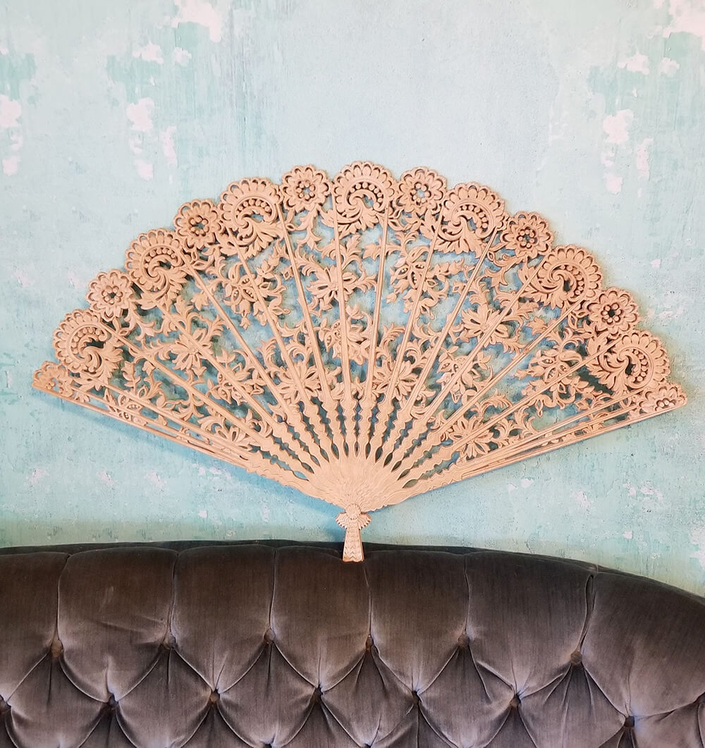 Hand Carved Wooden Fan with Fancy Flair