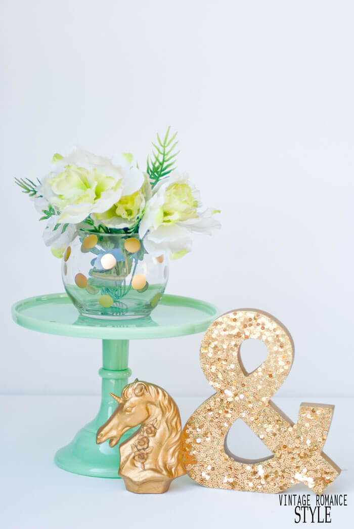 Cute Gold-Dotted Rose Bowl Vase