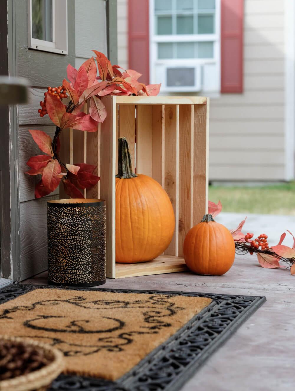 Wooden Crates as Fall Porch Decor