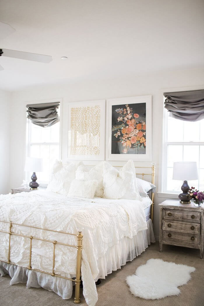 White Walls and White Ruffled Linens