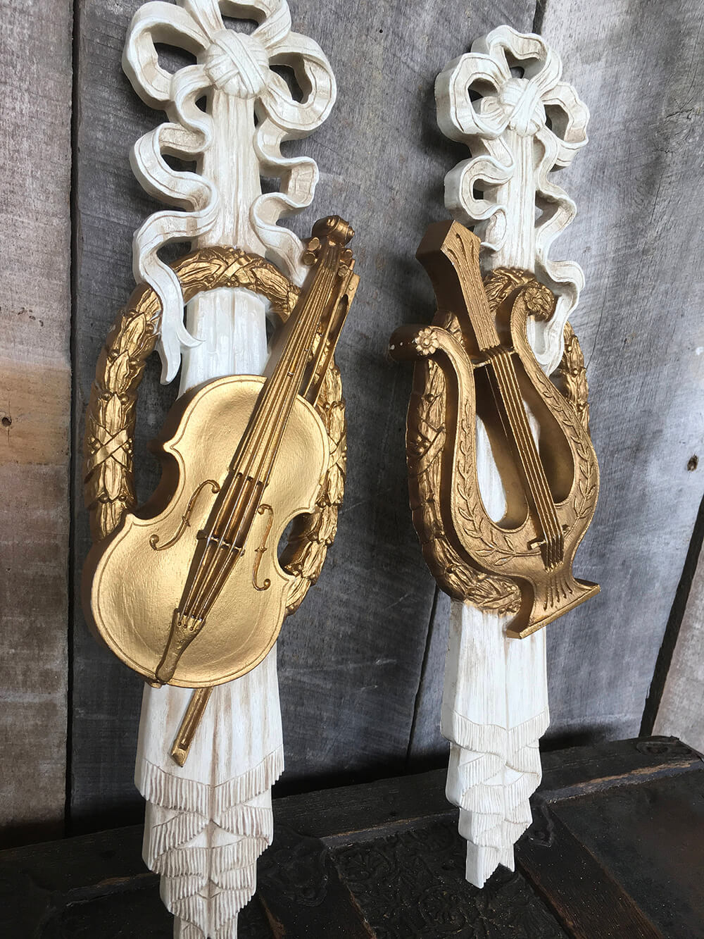Wooden Wall hangings with Gold Instruments