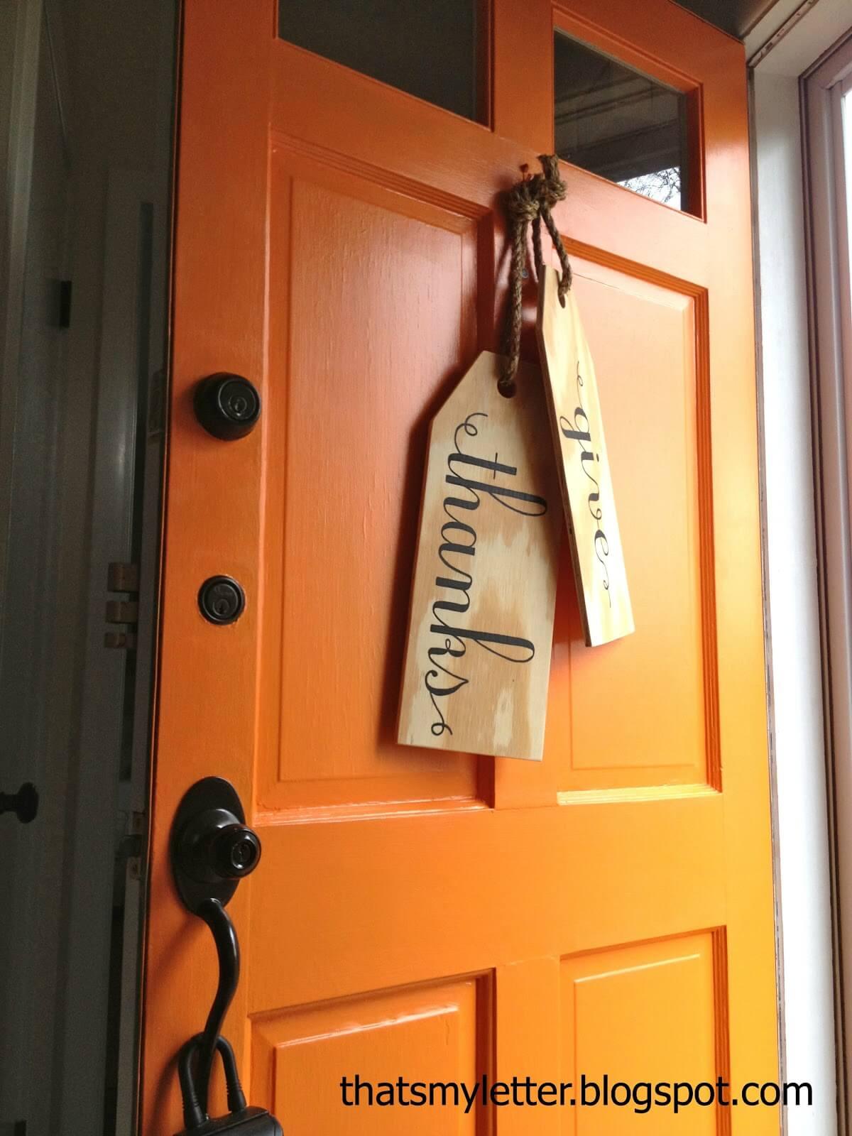 Rustic Wooden Calligraphy Door Tags