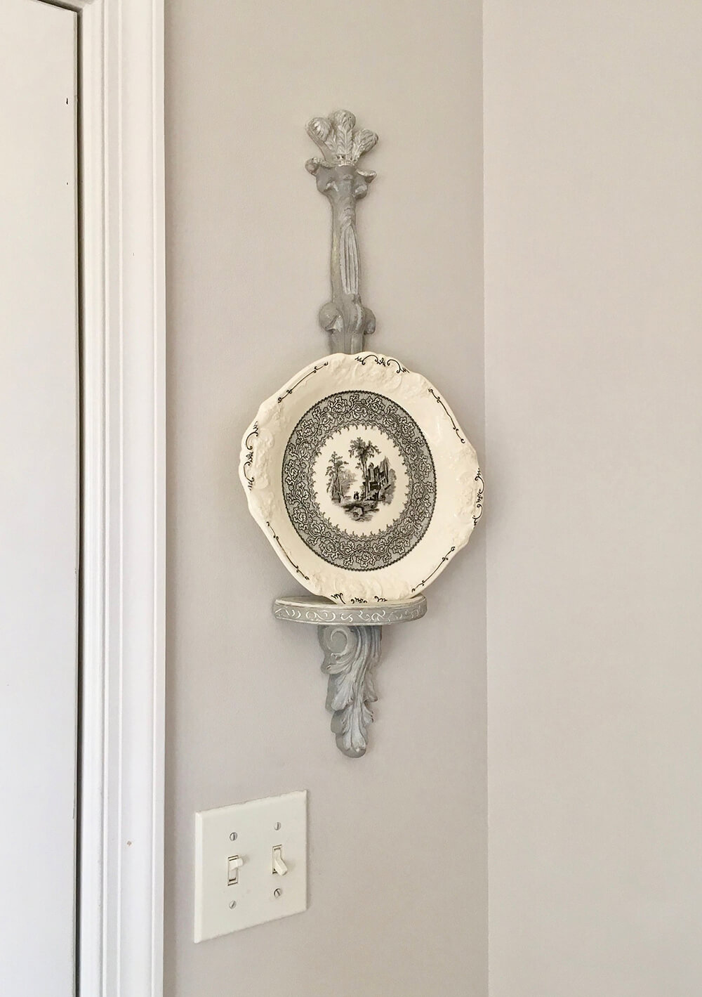 Vintage Plate Holder with Silver Paint