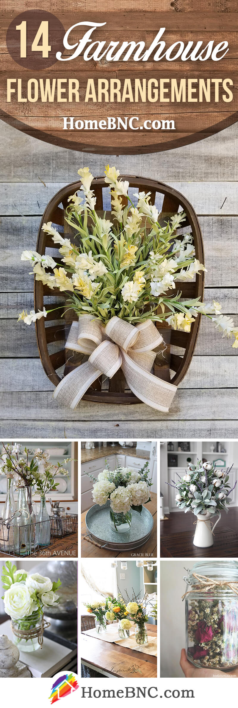 Farmhouse Style Flower Arrangement Ideas