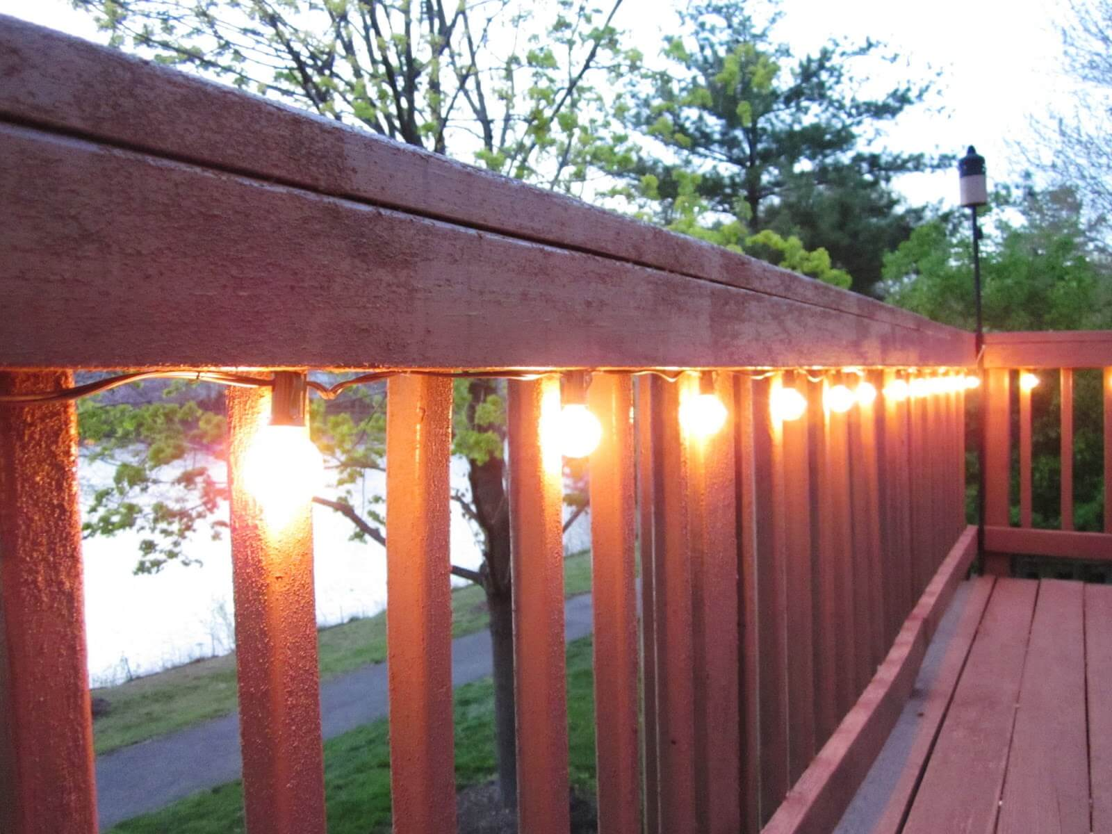 Yellow Bulb Outdoor Railing Lights