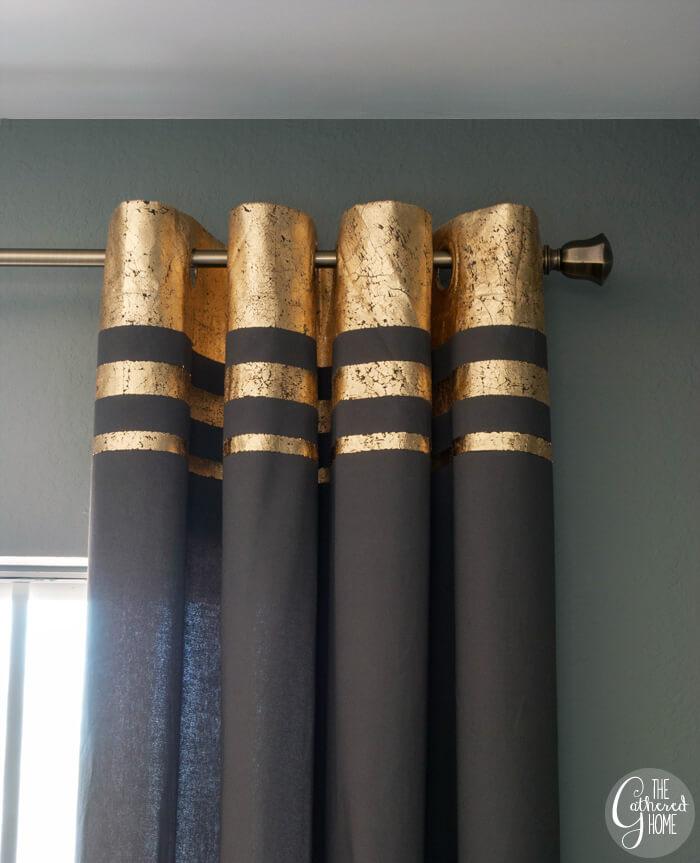 Bold Gold Strips Transform a Curtain