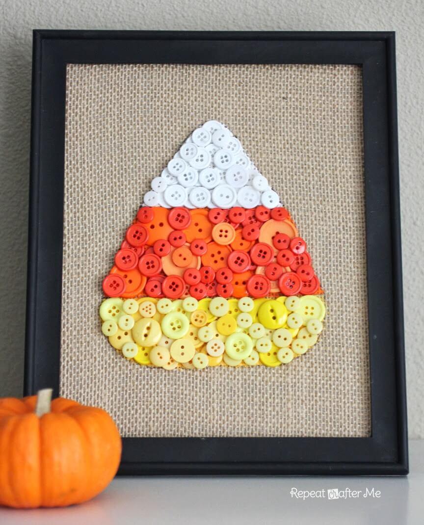 Cute Framed Burlap And Button Candy Corn Art