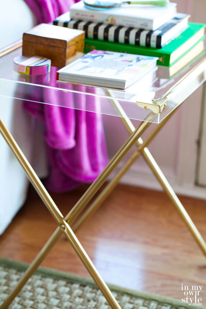 Acrylic Table with Gold Supports