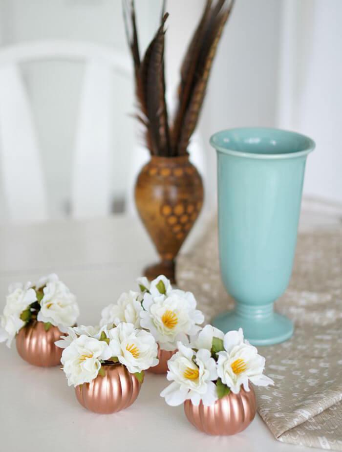 Copper Mini-Pumpkin Floral Accent Centerpieces