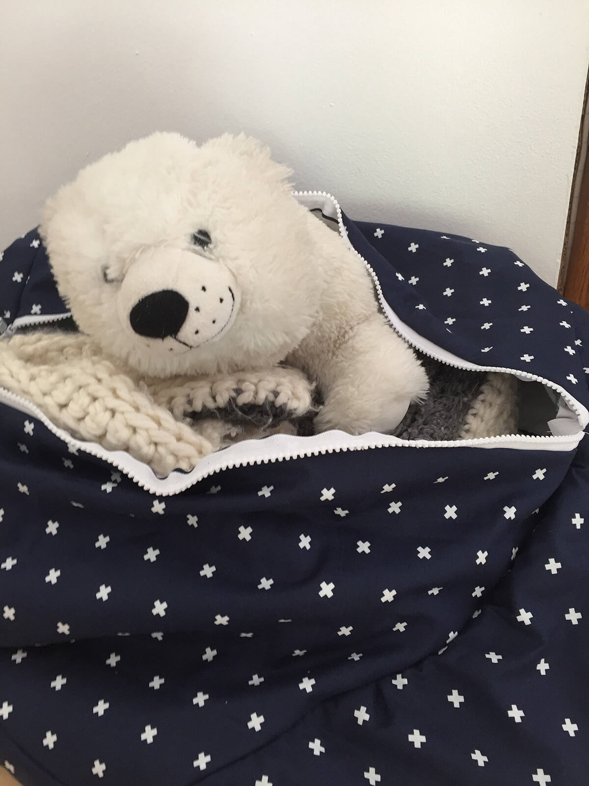 Stuffed Animal Storage Pillow with Zipper