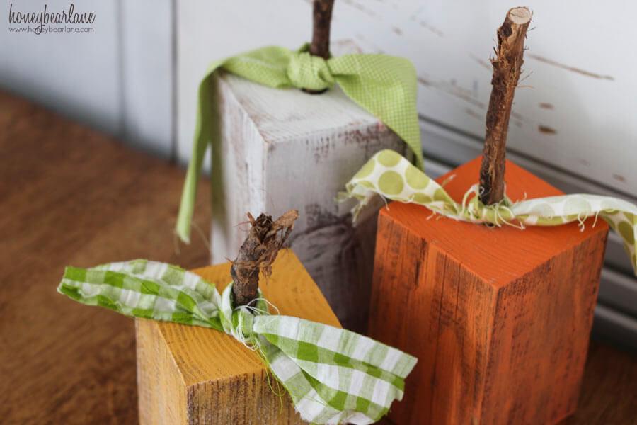 Distressed Painted Wood Pumpkins With Ties