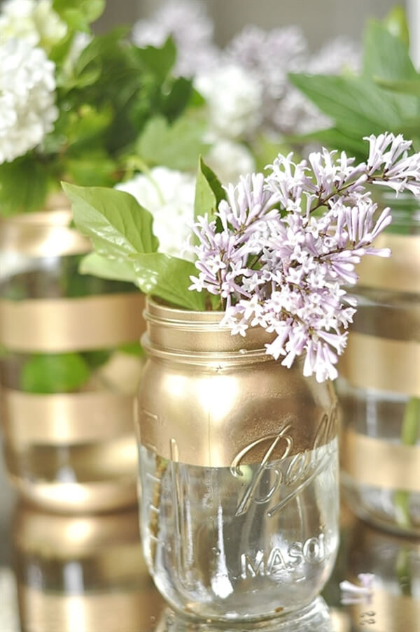 Mason Jars Transformed into Gold Vases