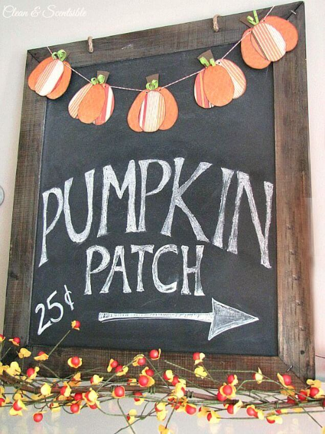 Pumpkin Bunting Over Seasonal Quote Chalkboard