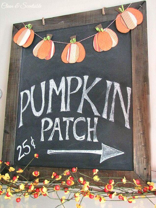 Pumpkin Bunting Over Seasonal Quote Chalkboard