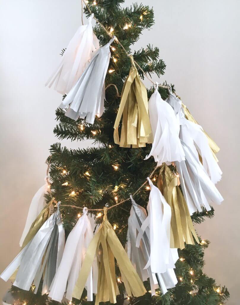 Tissue Paper Tassels in a Festive Garland