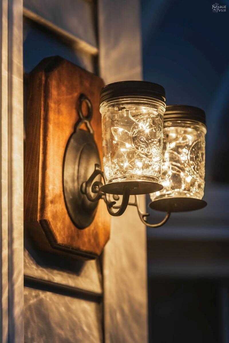 Mason Jar Fairly Light Side Lamps