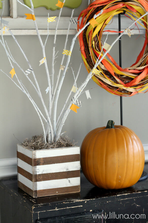 Painted Twig Box With Paper Tape Banner Detail
