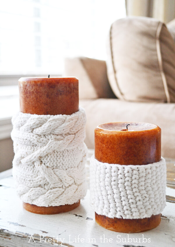 DIY White Scented Candle Cozies