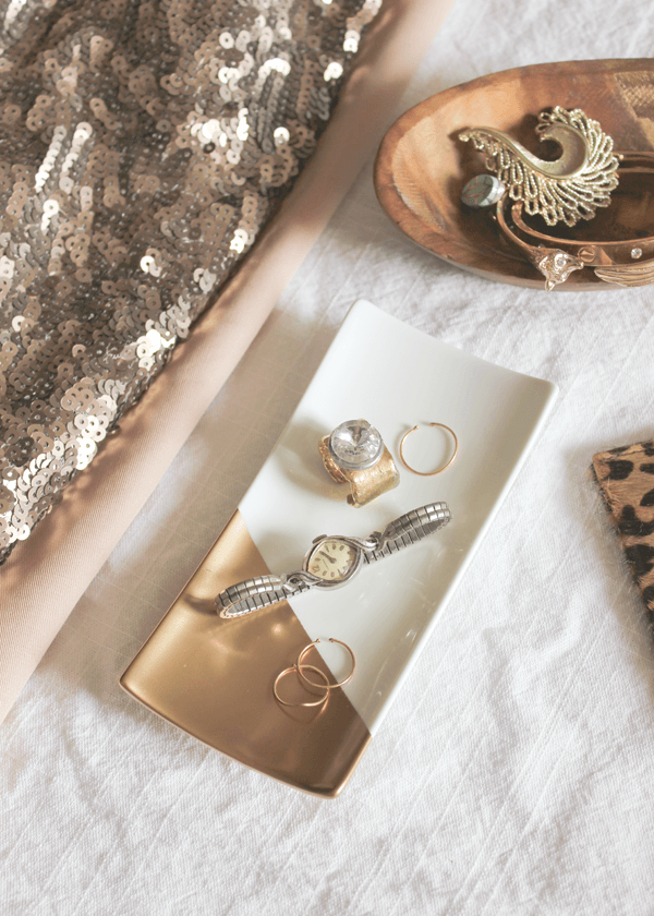 Organize with Gold Dipped Jewelry Trays
