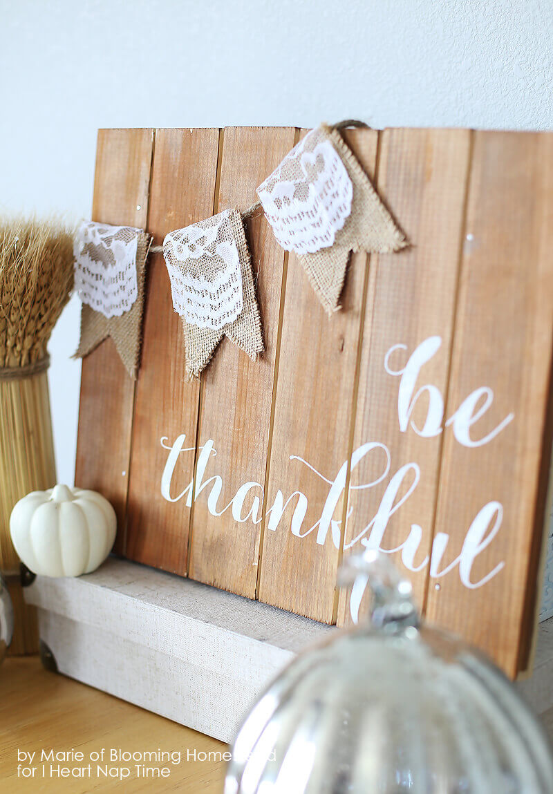 Mini Burlap Banner Over Plank With Painted Quote